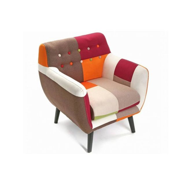 Inside 75 Fauteuil Steed patchwork rouge