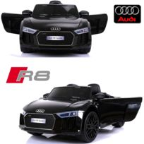 Audi - Voiture électrique enfant 12 volts nouvelle R8 pack luxe noir à télécommande parentale siège simili cuir zudio bluetooth