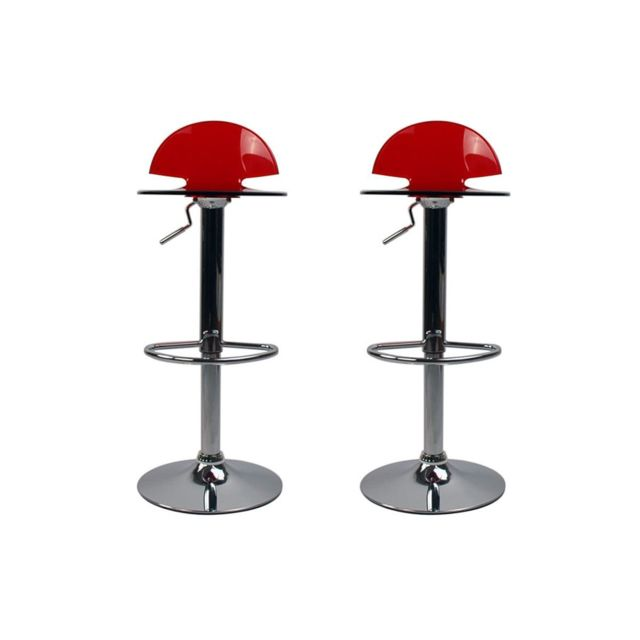 miliboo tabouret de bar design plexiglas rouge transparent lot de 2 orion pas cher achat. Black Bedroom Furniture Sets. Home Design Ideas