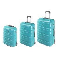 CARREFOUR - Lot de 3 valises rigides 2 roues - ABS et PC - Turquoise
