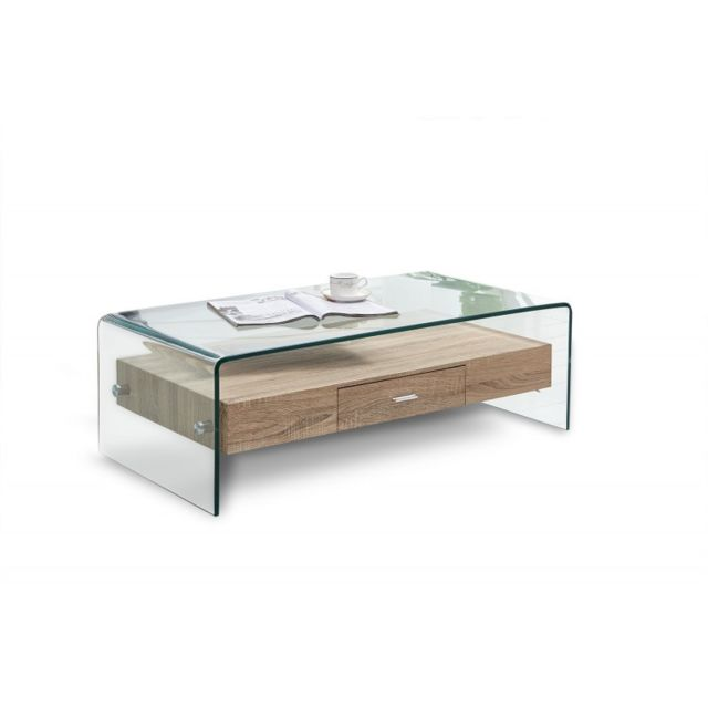 Meubletmoi Table basse en verre avec tiroir bois - Ice