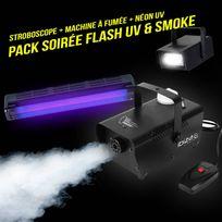 Ibiza Light - Pack Soirée Machine à fumée 400W + Stroboscope + Réglette lumière noire Uv néon