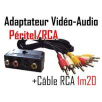 Cabling - Cordon Audio Vidéo 3 Rca M/M 1.2 m + adaptateur péritel vers Svhs et Rca