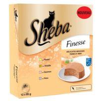 Sheba - Barquettes Mousse Finesse Terre et Mer pour Chat - 12x85g