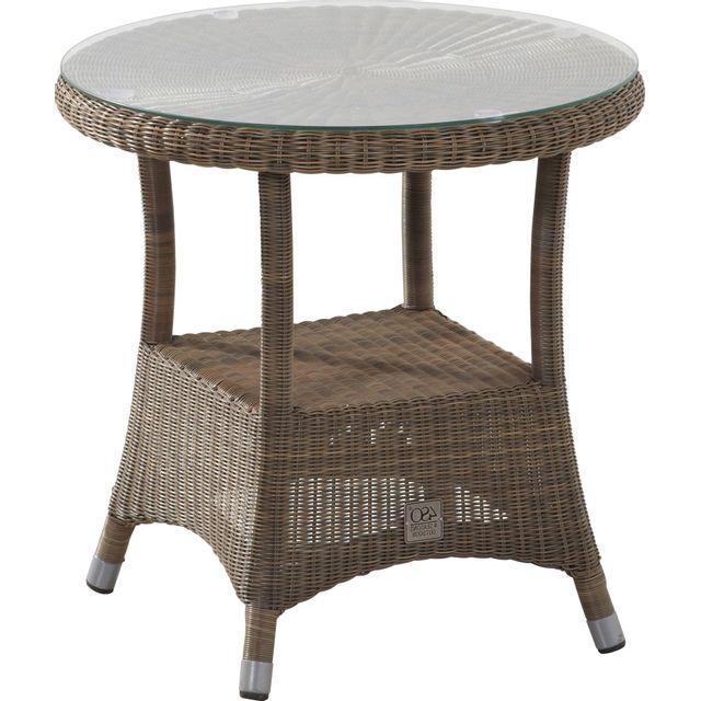 Comforium Table d'appoint de jardin Ø 55 cm en résine tressée coloris taupe + vitre incluse