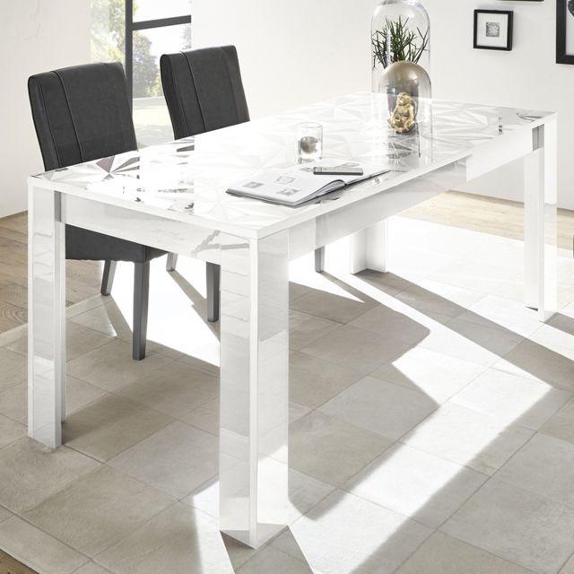 Kasalinea Table à manger 180 blanc laqué design Nino