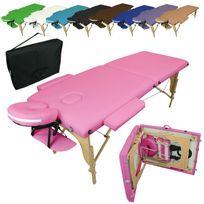 VIVEZEN - Table De Massage Pliante 2 Zones en bois + Housse de Transport