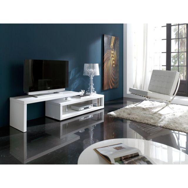 Ma Maison Mes Tendances Meuble Tv 140-200 cm pivotant en bois laqué blanc brillant Zirco - L 141 x l 44 x H 48