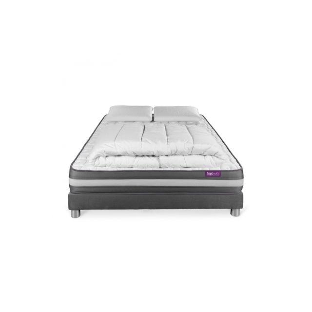 septnuits pack matelas sommier gris 140x190 memo plus m moire de forme 3 zones 2 oreillers. Black Bedroom Furniture Sets. Home Design Ideas