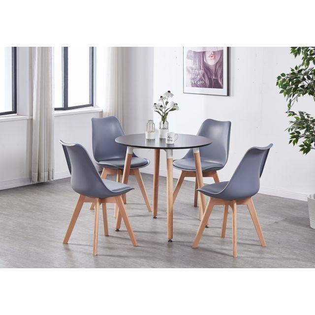 Table à Manger Ronde Noire Style Scandinave 4 Personnes - Style Moderne &  Contemporain - Cuisine ou Salle à Manger
