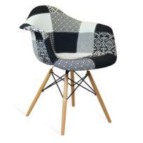 Novara Mobili - Chaise Arms Wood Style Patchwork B/W Shadow avec pieds en bois de hêtre
