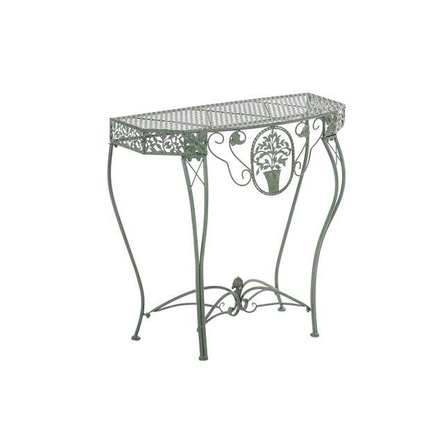 Mendler Table à fleurs/de jardin Navan, métal ~ coloris vert antique