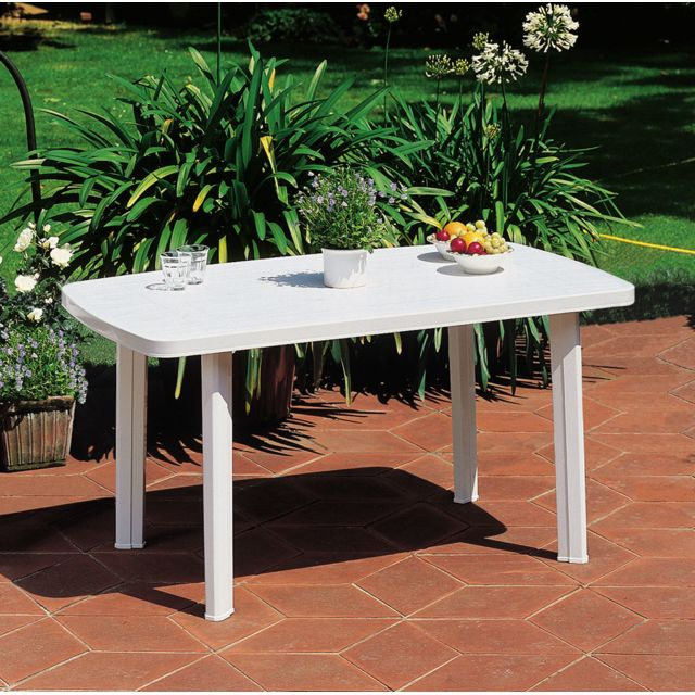 CARREFOUR FARO - Table de jardin rectangulaire - Blanc - 909908