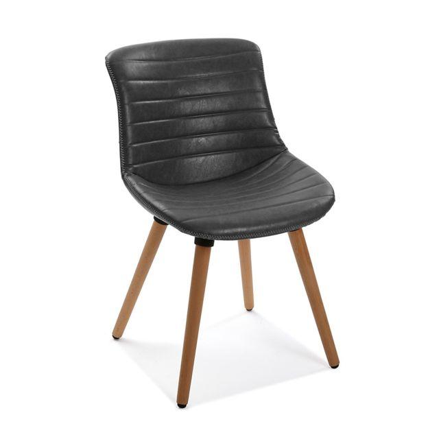 Pegane Fauteuil vintage aspect cuir Noir - L 54 x l 49 x H 80 cm