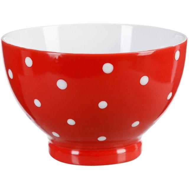 Promobo Bol A Déjeuner Soupe Design A Pois Relief Gourmand Rouge
