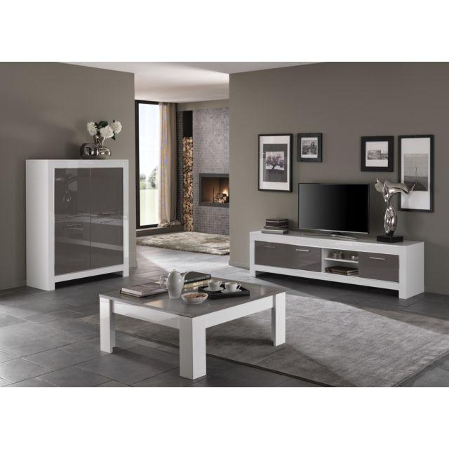 Modern salon - Ensemble Laqué blanc/gris Modena : Meuble tv ...