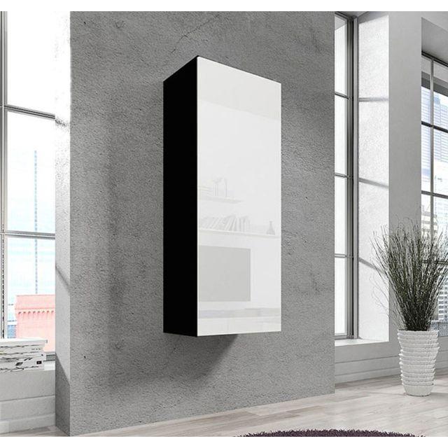 Design Ameublement Armoire mural modele Livigno noir et blanc
