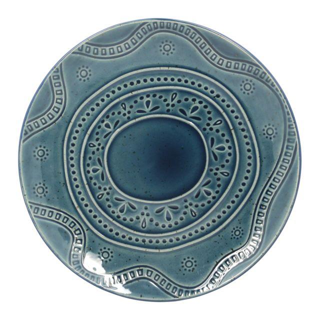 Thekitchenette Lot De 4 Assiettes Plates En GrÈS Ø27CM Collection Altai Blue