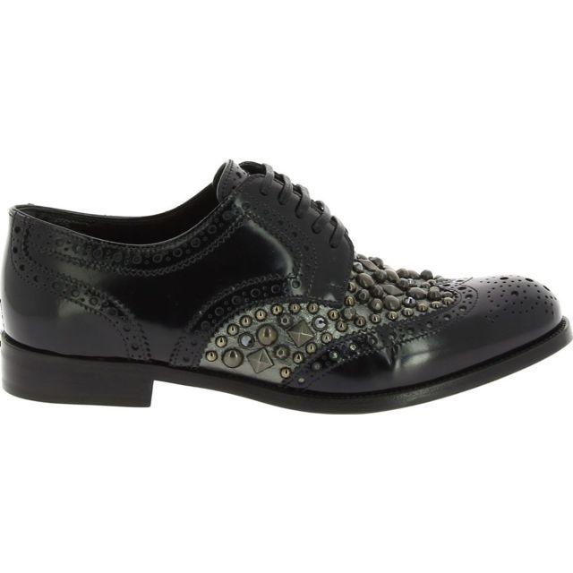 Dolce & Gabanna Dolce E Gabbana Femme C18572AP2558B577 Noir Cuir Chaussures À Lacets