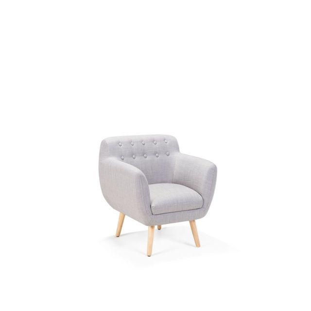 BELIANI Fauteuil de salon en tissu gris clair MELBY - gris