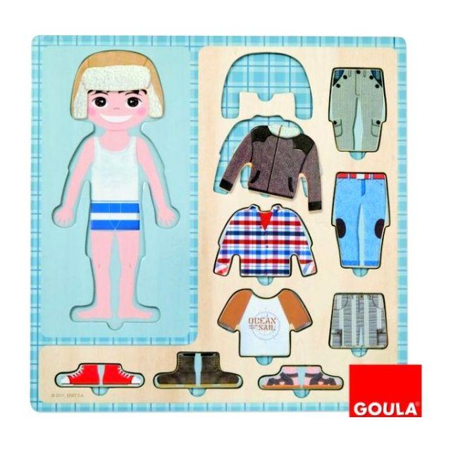 GOULA Puzzle 10 pièces en bois : Petit garçon s'habille