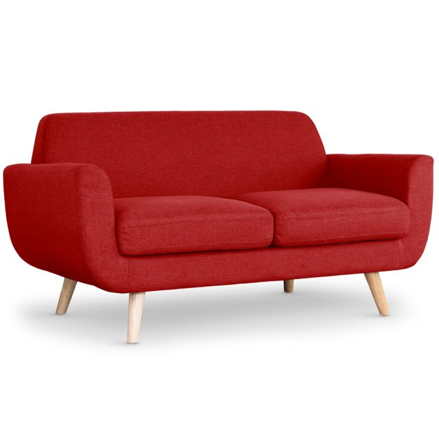 NO NAME Canapé scandinave 2 places Danube Tissu Rouge