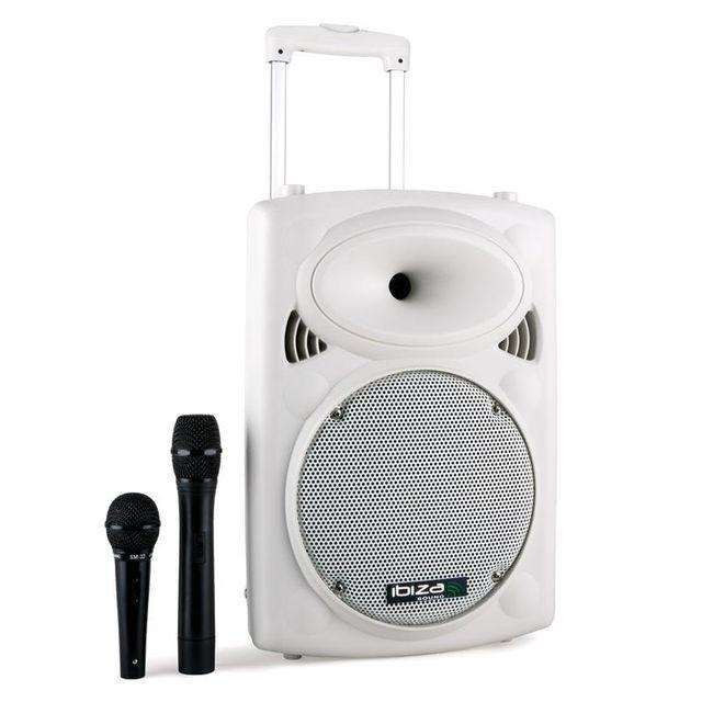 IBIZA Port10VHF-BT-WH batterie bluetooth USB SD 500W -blanc