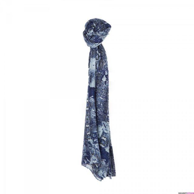 b71db8c323ce Ddp - Foulard bleu motif serpent femme - pas cher Achat   Vente Echarpes,  foulards - RueDuCommerce