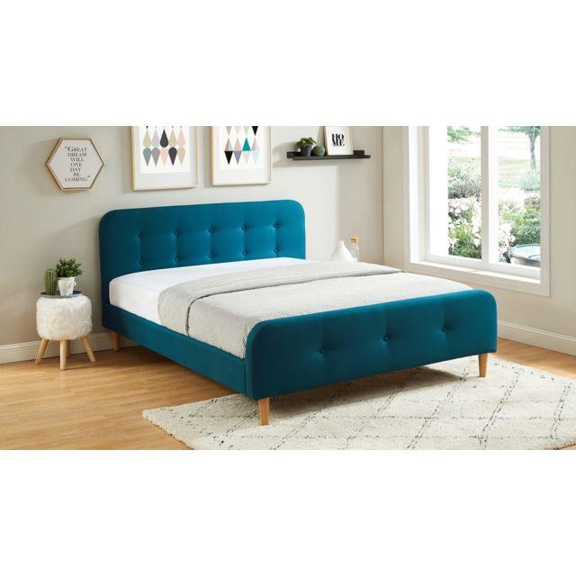 homifab lit adulte scandinave en tissu bleu canard. Black Bedroom Furniture Sets. Home Design Ideas