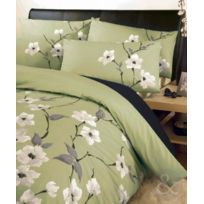 Just Contempo - Parure De Lit En Polycoton Motif Floral Oriental, Poly Coton, Olive Green Grey Cream Black Housse De Couette