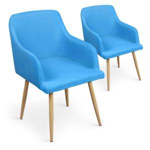 Menzzo lot de 2 chaises scandinaves loca bleu pas cher for Lot de 6 chaises conforama