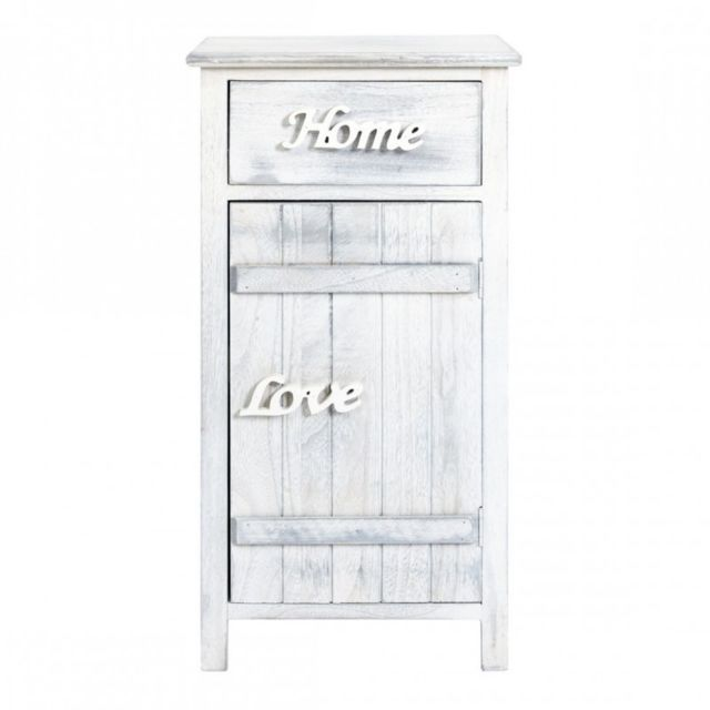 mobili rebecca meuble d 39 appoint chevet 1 port 1 tiroir blanc shabby chic bain chambre sejour. Black Bedroom Furniture Sets. Home Design Ideas