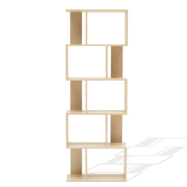 Mobili Rebecca Bibliotheque Etageres Bois Beige Design Moderne 172,5x60x24