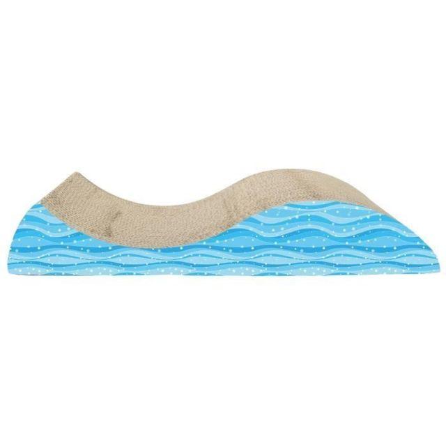 Icaverne GRIFFOIR - GRATTOIR - TOUR - POTEAU - TRONC Griffoir en forme de vague avec herbe a chat - 49 x 21 x 8,5 cm 19,