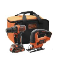 Black & Decker - Lot perceuse à percussion et scie sauteuse - 18 V - BCK22S1S