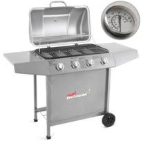 broil-master - Barbecue à gaz avec 4 brûleurs principaux, en argenté