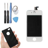 Visiodirect - Vitre tactile ecran Lcd sur chassis pour iPhone 4 blanc + housse de protection