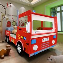 Rocambolesk - Superbe Lit pour enfant design camion de pompier rouge 200 x 90 cm neuf