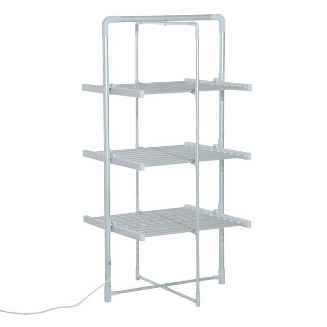 homcom s choir linge tendoir linge lectrique chauffant pliable 3 niveaux 300 w 50 55 c. Black Bedroom Furniture Sets. Home Design Ideas