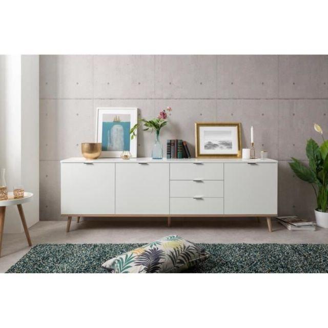 BUFFET - BAHUT - ENFILADE GOTEBORG Bahut - Style scandinave - Décor chene et blanc - L 200 cm
