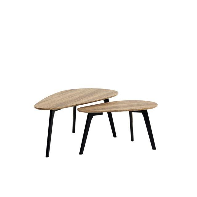 BELIANI Lot de 2 tables basses bois clair et noires FLY III - blanc