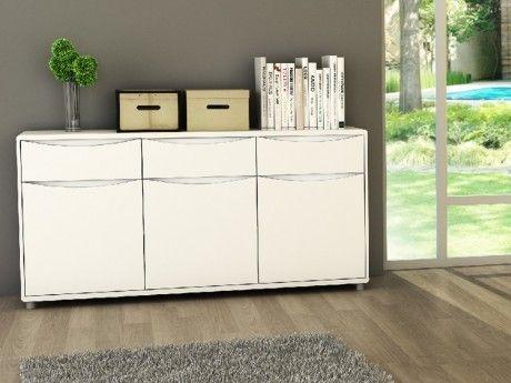 VENTE-UNIQUE - Buffet SORRISO - Blanc - 3 portes & 3 tiroirs - pas ...