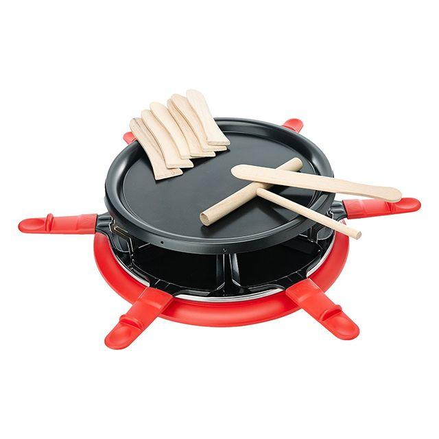 Harper - six red - appareil à raclette 6 personnes 900w + gril + crêpière rouge