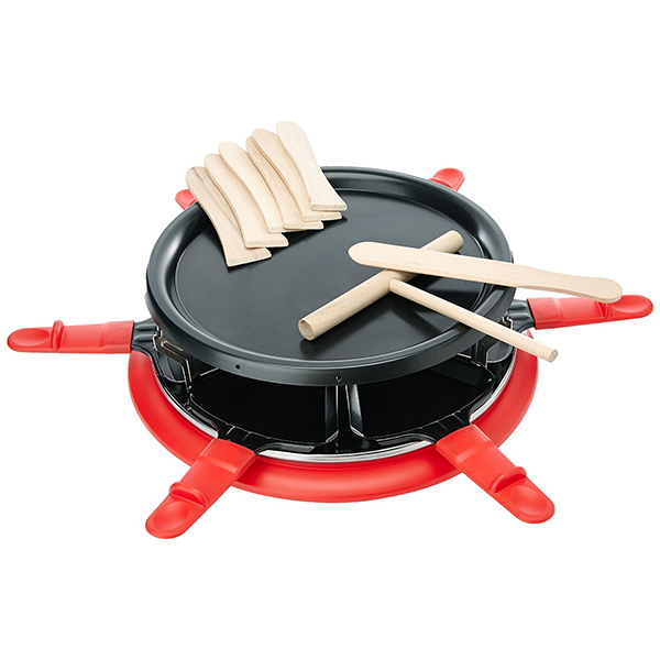 appareil à raclette 6 personnes 900w + gril + crêpière rouge - six red