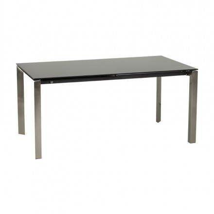 TECHNEB Table design rectangulaire avec rallonge MONA en verre trempé et inox 160/230cmX90cmX74cm, noir