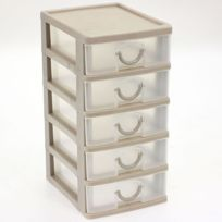 Touslescadeaux - Petit Bloc Coffret Tour - Boite de rangement 5 tiroirs plastique - Beige
