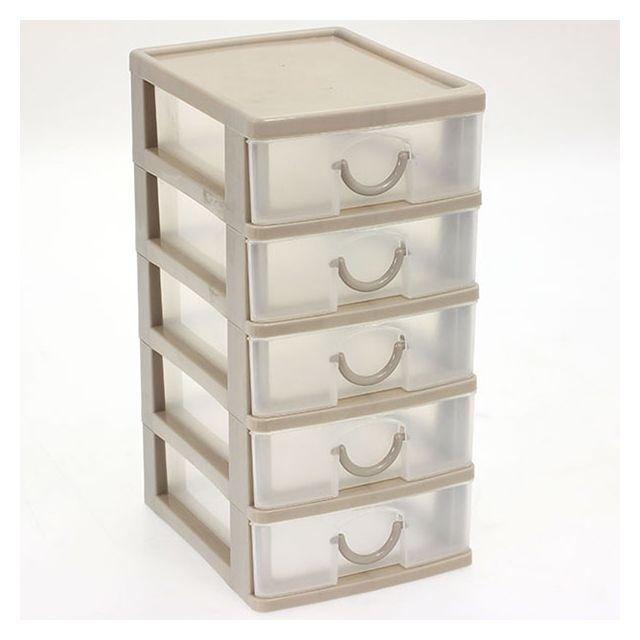 Touslescadeaux - Petit Bloc Coffret Tour - Boite de rangement 5 tiroirs plastique - Beige - pas ...
