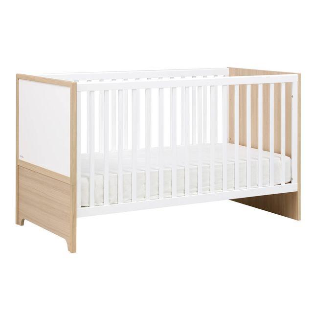 Galipette Lit bébé évolutif en lit junior décor chêne et textile 70x140cm Olympe - Sans tiroir