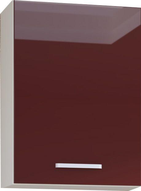 Comforium Meuble haut de cuisine design 60 cm avec 1 porte coloris blanc mat et rouge laqué