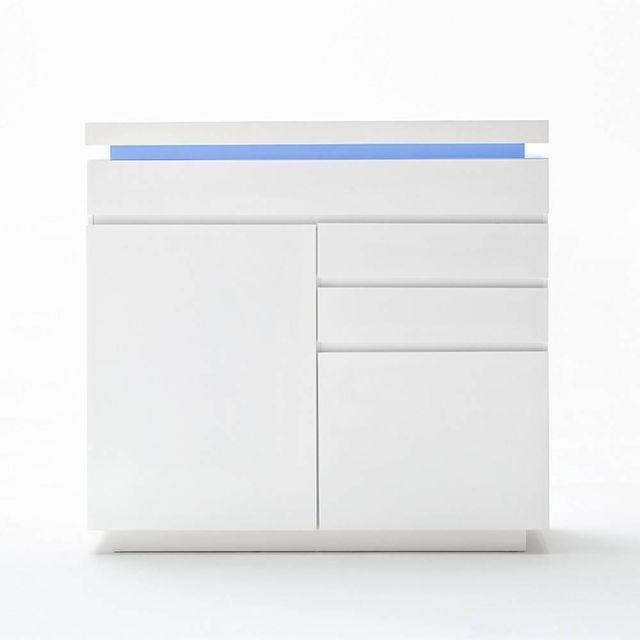 Inside 75 Buffet haut Ocean laqué blanc brillant 2 portes 3 tiroirs Led inclus